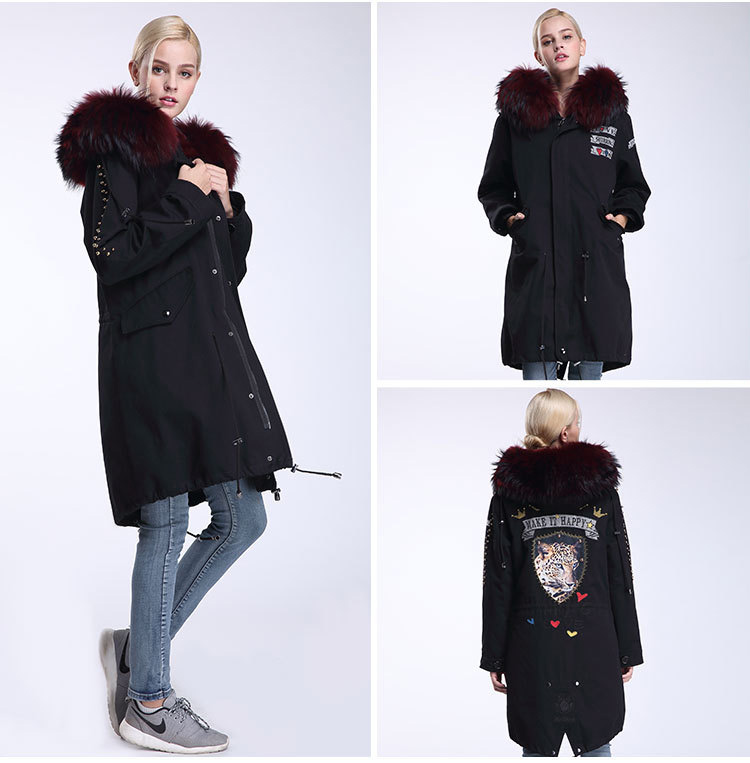 Raccoon Fur Trimming Hooded Parka with Detachable Rex Rabbit Fur Liner 947 Details 7