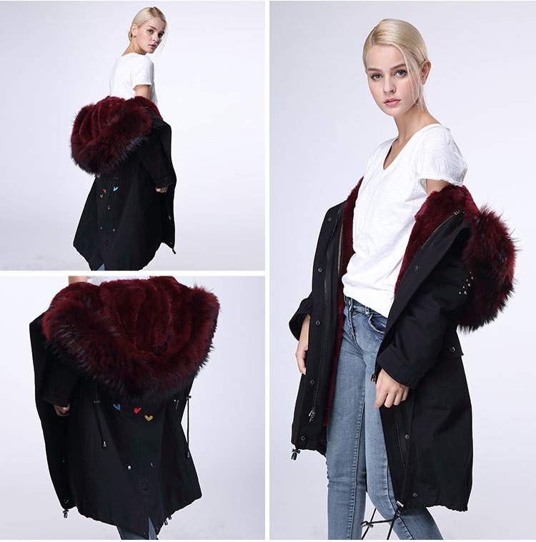 Raccoon Fur Trimming Hooded Parka with Detachable Rex Rabbit Fur Liner 947 Details 8
