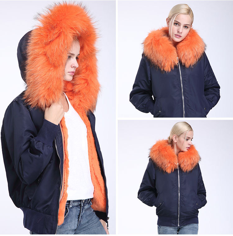 Raccoon Fur Trimming Hooded Bomber Jacket with Detachable Rex Rabbit Fur Liner 948 Details 10
