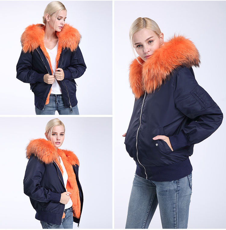Raccoon Fur Trimming Hooded Bomber Jacket with Detachable Rex Rabbit Fur Liner 948 Details 11