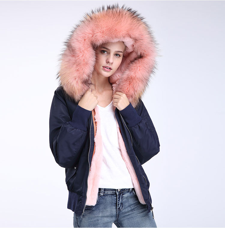 Raccoon Fur Trimming Hooded Bomber Jacket with Detachable Rex Rabbit Fur Liner 948 Details 12