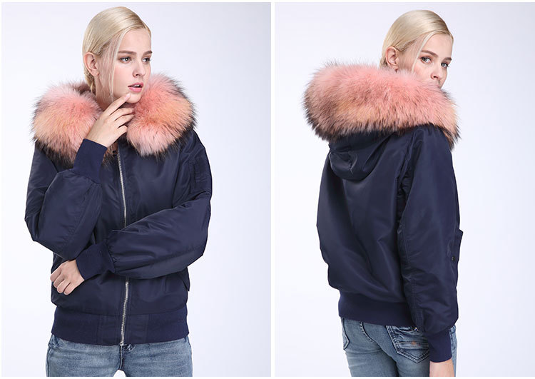 Raccoon Fur Trimming Hooded Bomber Jacket with Detachable Rex Rabbit Fur Liner 948 Details 13