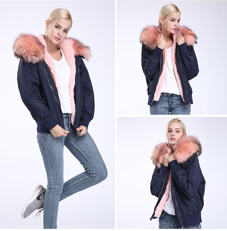 Raccoon Fur Trimming Hooded Bomber Jacket with Detachable Rex Rabbit Fur Liner 948 Details 14