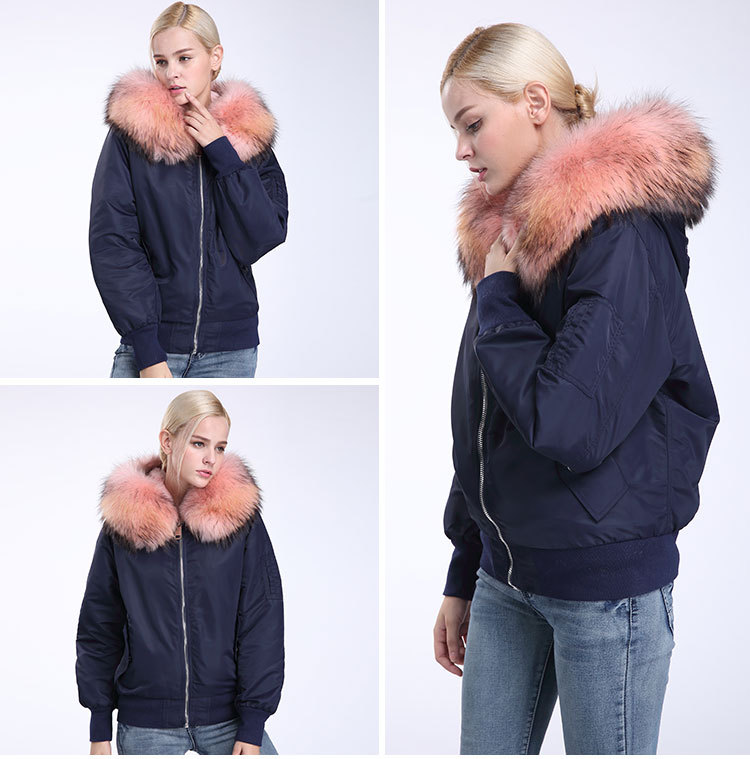 Raccoon Fur Trimming Hooded Bomber Jacket with Detachable Rex Rabbit Fur Liner 948 Details 15
