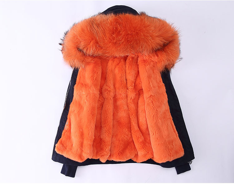 Raccoon Fur Trimming Hooded Bomber Jacket with Detachable Rex Rabbit Fur Liner 948 Details 2