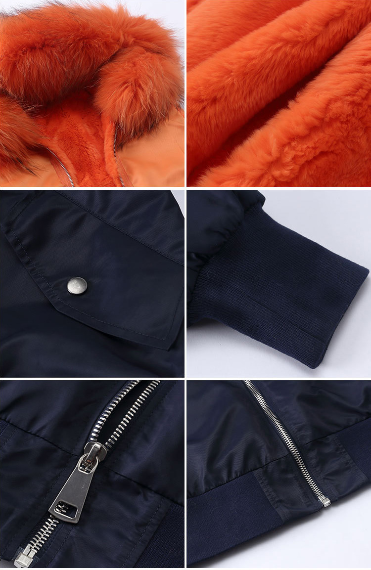 Raccoon Fur Trimming Hooded Bomber Jacket with Detachable Rex Rabbit Fur Liner 948 Details 4