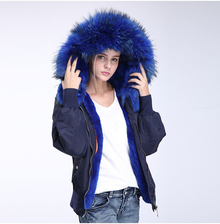 Raccoon Fur Trimming Hooded Bomber Jacket with Detachable Rex Rabbit Fur Liner 948 Details 5