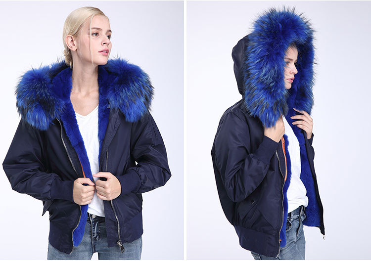 Raccoon Fur Trimming Hooded Bomber Jacket with Detachable Rex Rabbit Fur Liner 948 Details 6