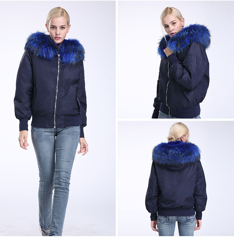 Raccoon Fur Trimming Hooded Bomber Jacket with Detachable Rex Rabbit Fur Liner 948 Details 7