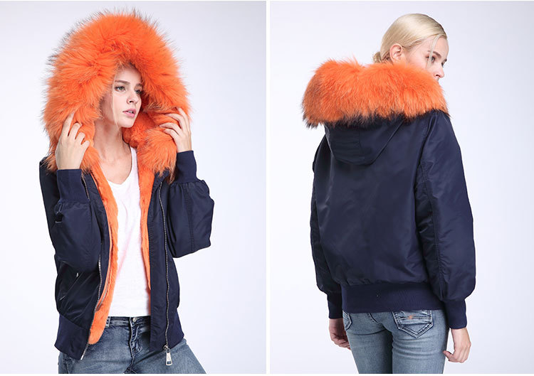Raccoon Fur Trimming Hooded Bomber Jacket with Detachable Rex Rabbit Fur Liner 948 Details 9