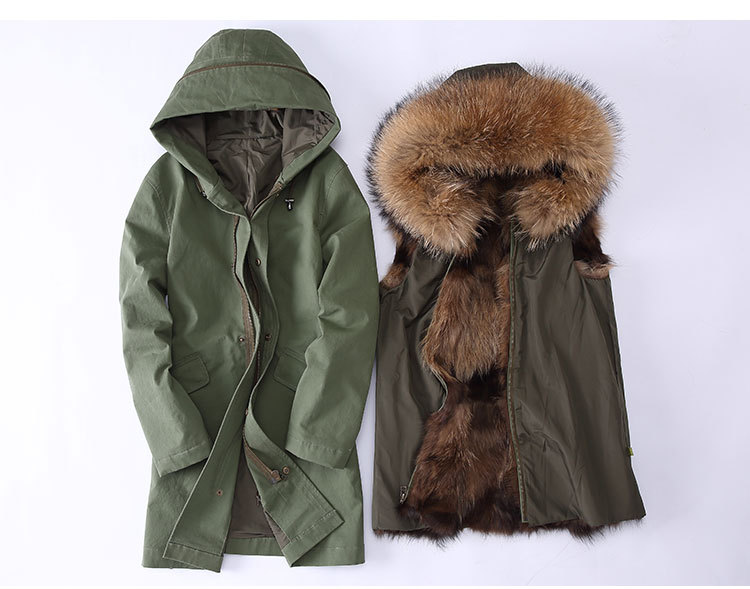 Raccoon Fur Trimming Hooded Parka with Detachable Coyote Fur Liner 949 Details 1