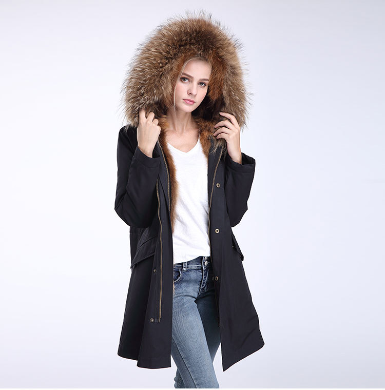 Raccoon Fur Trimming Hooded Parka with Detachable Coyote Fur Liner 949 Details 10