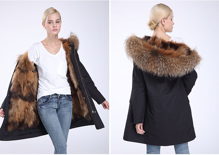 Raccoon Fur Trimming Hooded Parka with Detachable Coyote Fur Liner 949 Details 11