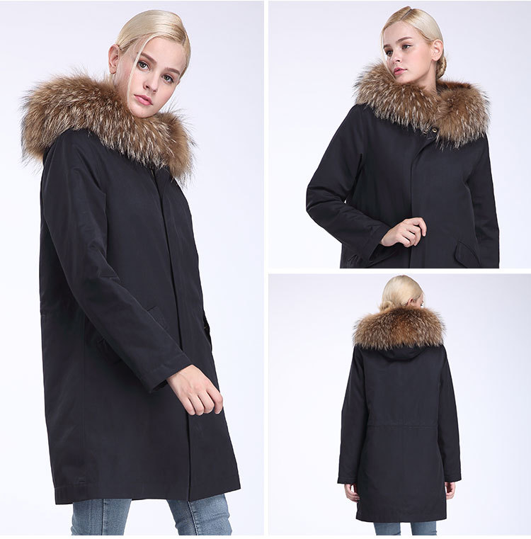 Raccoon Fur Trimming Hooded Parka with Detachable Coyote Fur Liner 949 Details 12