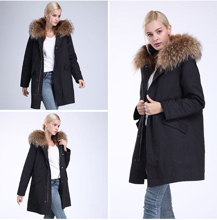 Raccoon Fur Trimming Hooded Parka with Detachable Coyote Fur Liner 949 Details 13