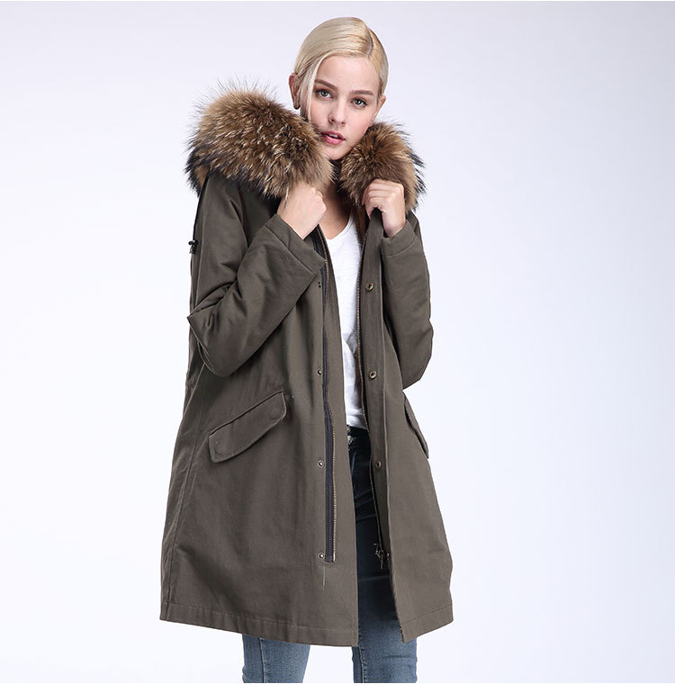 Raccoon Fur Trimming Hooded Parka with Detachable Coyote Fur Liner 949 Details 14