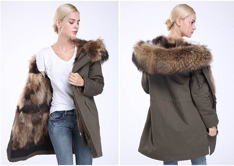 Raccoon Fur Trimming Hooded Parka with Detachable Coyote Fur Liner 949 Details 15