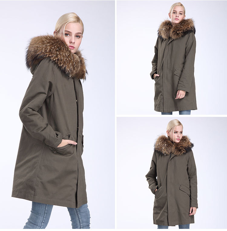 Raccoon Fur Trimming Hooded Parka with Detachable Coyote Fur Liner 949 Details 16