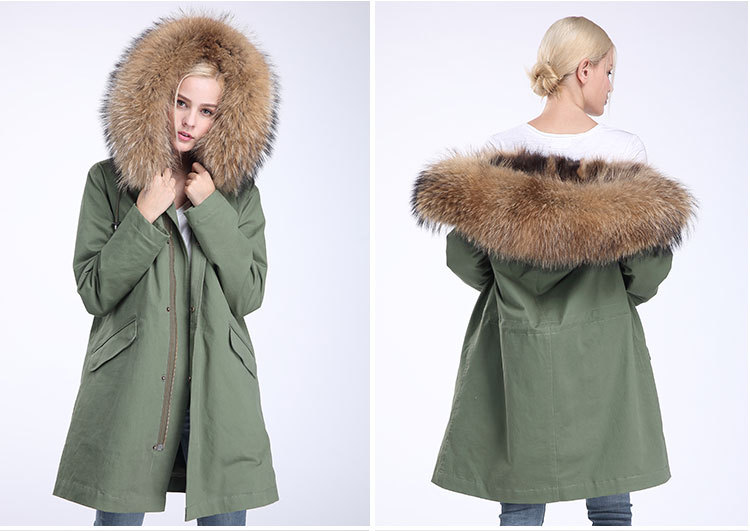 Raccoon Fur Trimming Hooded Parka with Detachable Coyote Fur Liner 949 Details 19