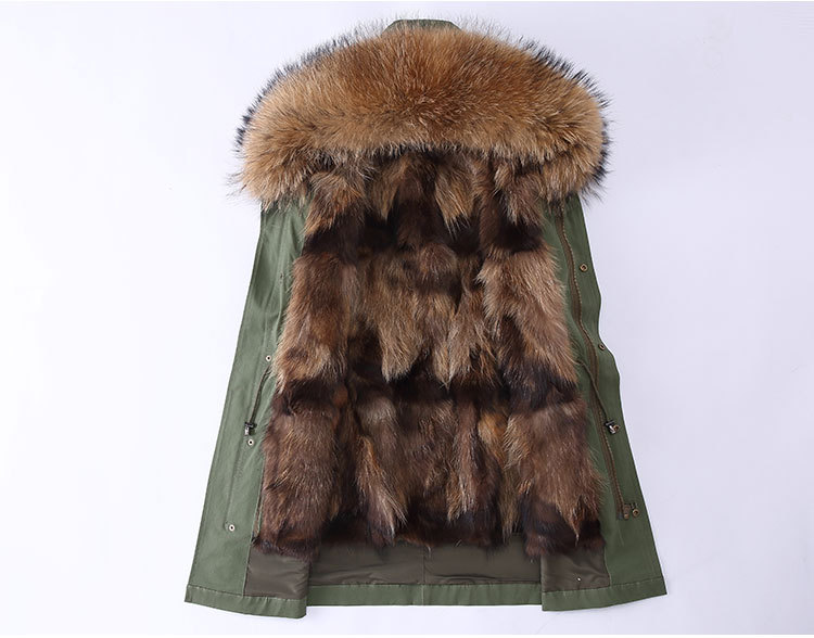 Raccoon Fur Trimming Hooded Parka with Detachable Coyote Fur Liner 949 Details 2