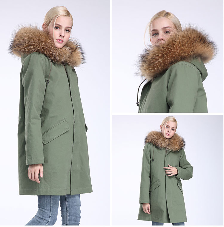 Raccoon Fur Trimming Hooded Parka with Detachable Coyote Fur Liner 949 Details 20