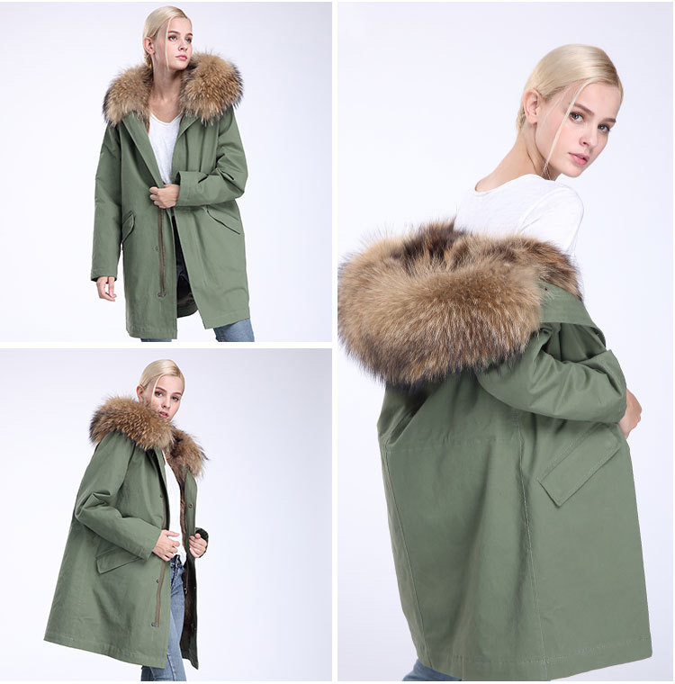 Raccoon Fur Trimming Hooded Parka with Detachable Coyote Fur Liner 949 Details 21