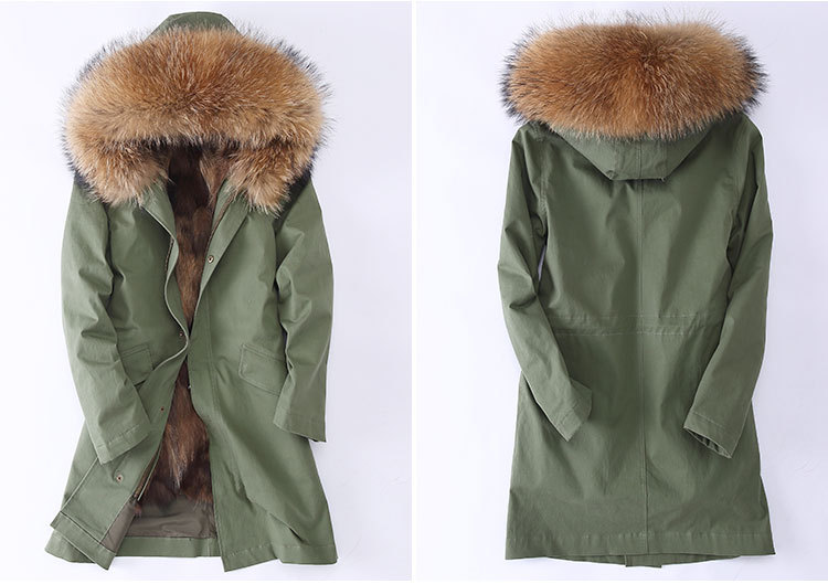 Raccoon Fur Trimming Hooded Parka with Detachable Coyote Fur Liner 949 Details 3