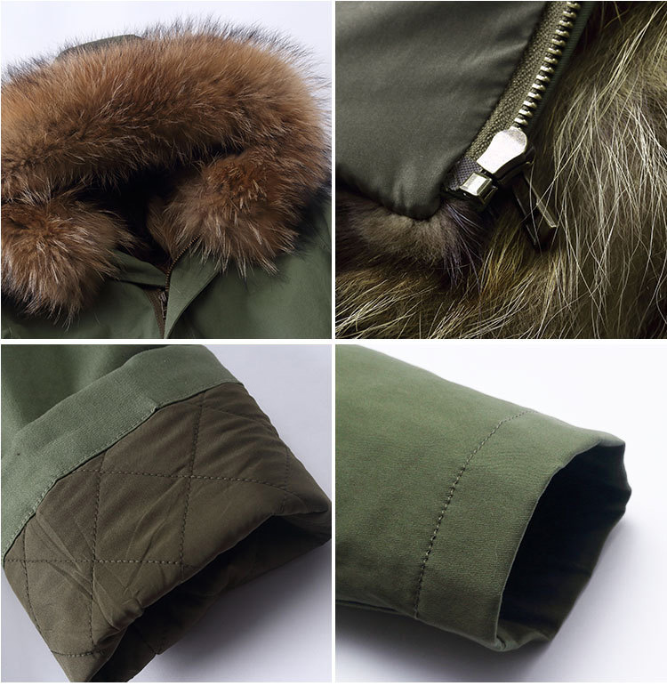 Raccoon Fur Trimming Hooded Parka with Detachable Coyote Fur Liner 949 Details 4