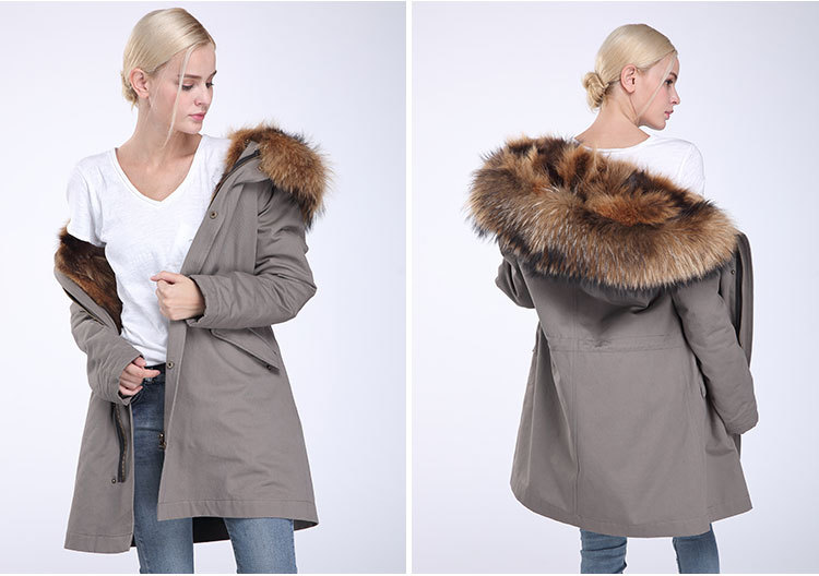 Raccoon Fur Trimming Hooded Parka with Detachable Coyote Fur Liner 949 Details 7