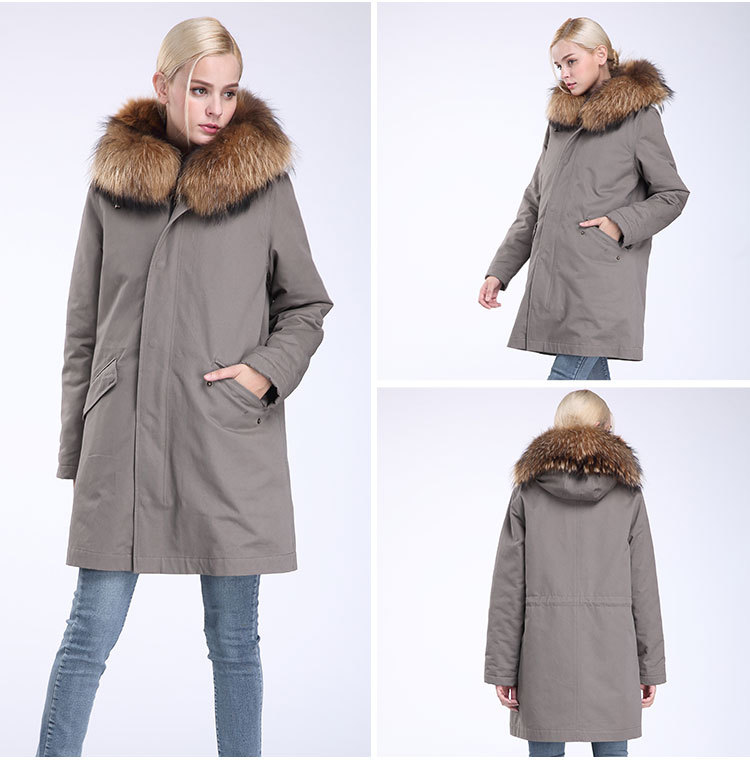 Raccoon Fur Trimming Hooded Parka with Detachable Coyote Fur Liner 949 Details 8