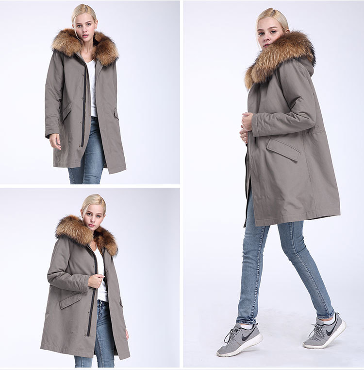 Raccoon Fur Trimming Hooded Parka with Detachable Coyote Fur Liner 949 Details 9