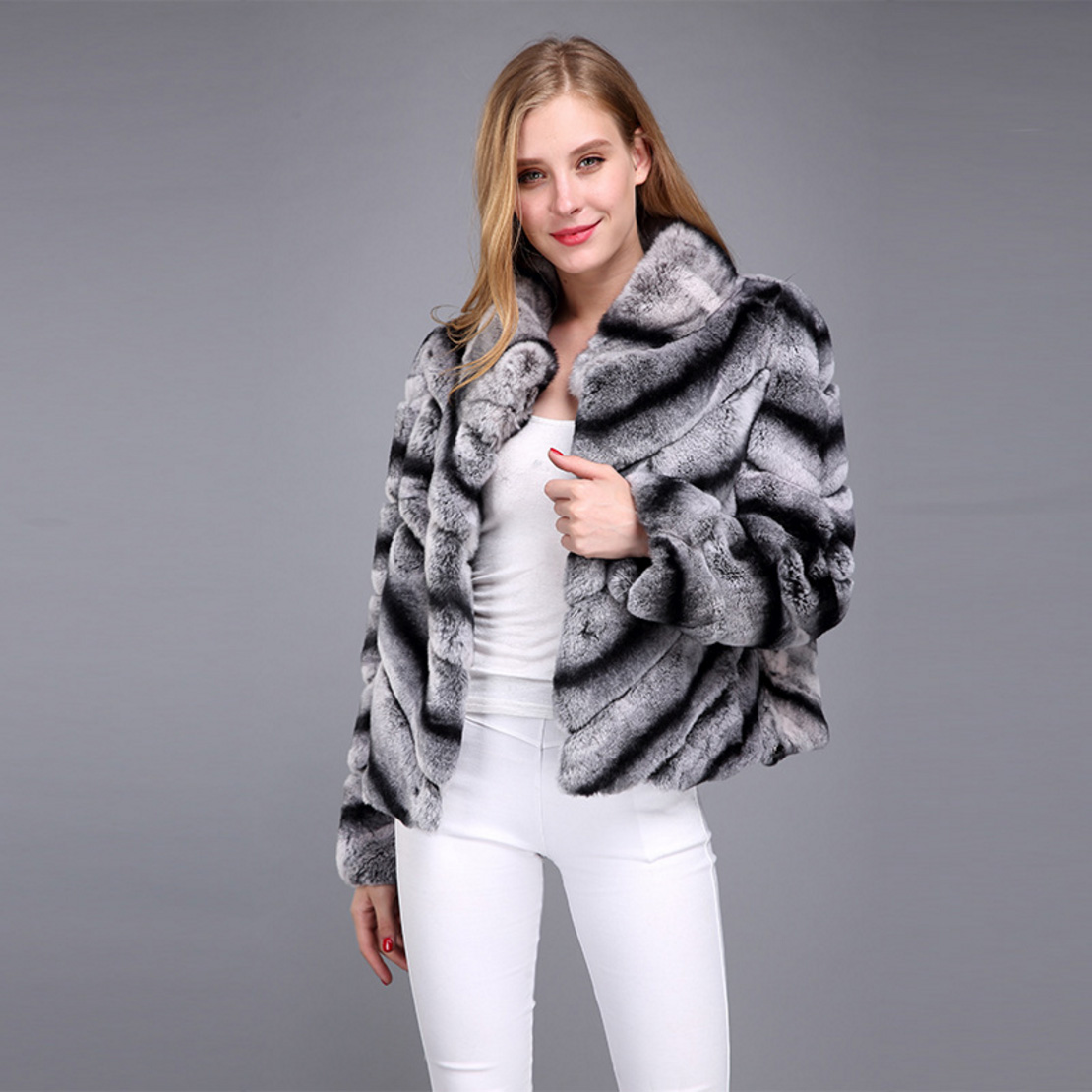 Rex Rabbit Fur Jacket with Chinchilla Look 950 Details 1
