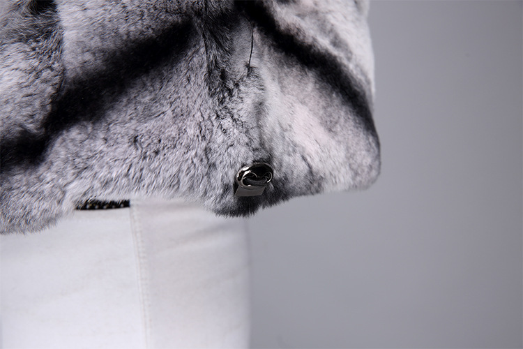 Rex Rabbit Fur Jacket with Chinchilla Look 950 Details 11