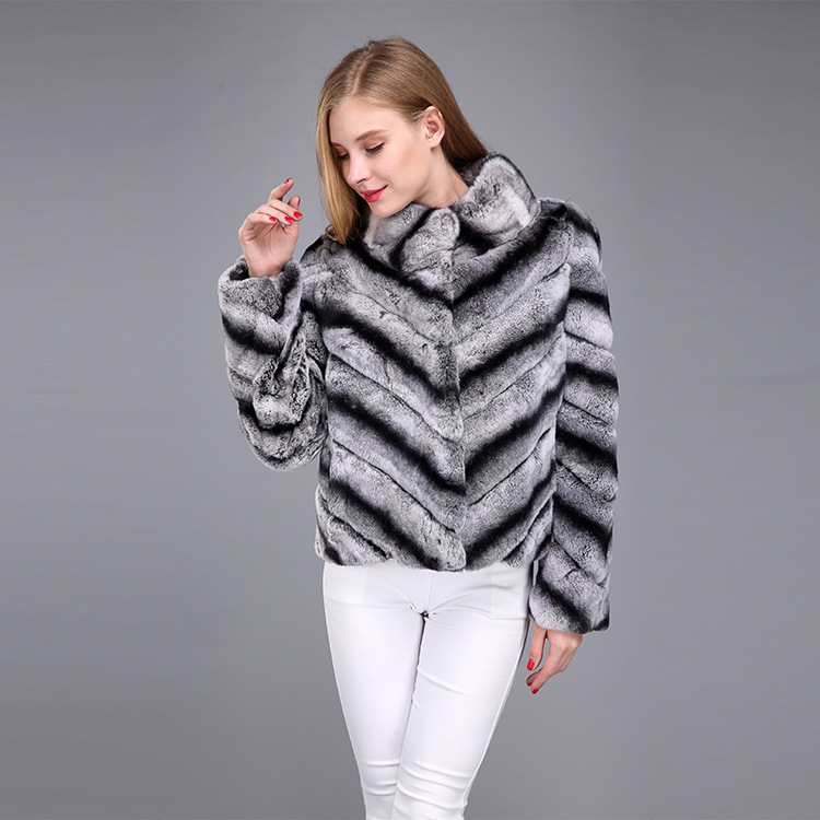 Rex Rabbit Fur Jacket with Chinchilla Look 950 Details 2