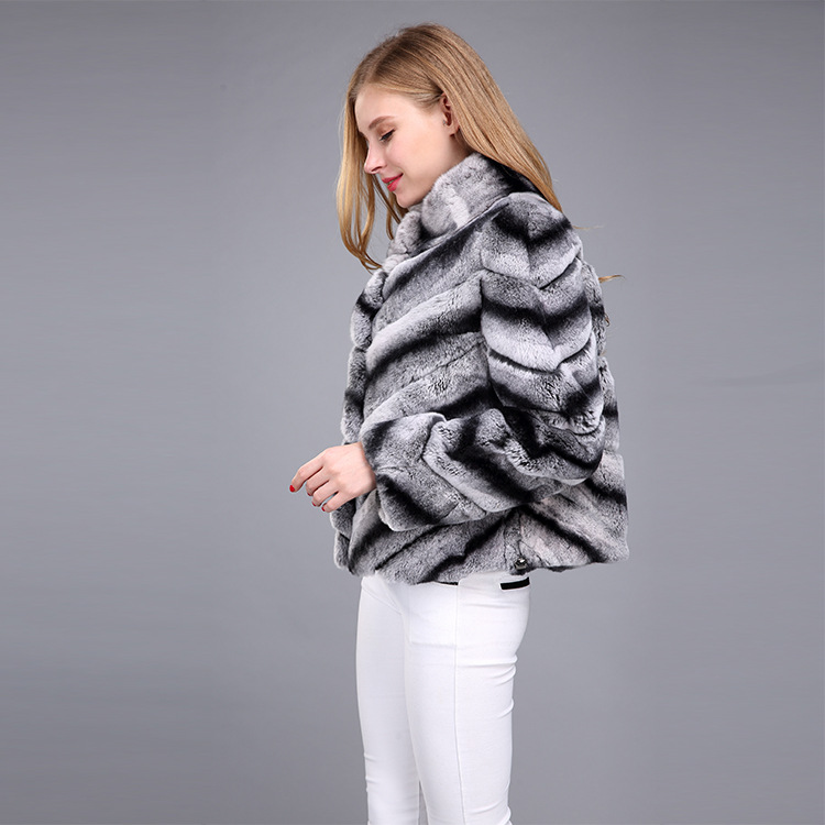 Rex Rabbit Fur Jacket with Chinchilla Look 950 Details 3