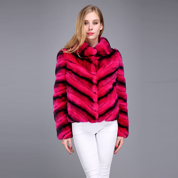 Rex Rabbit Fur Jacket with Chinchilla Look 950 Details 4