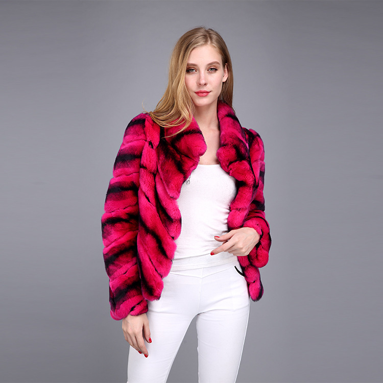 Rex Rabbit Fur Jacket with Chinchilla Look 950 Details 6