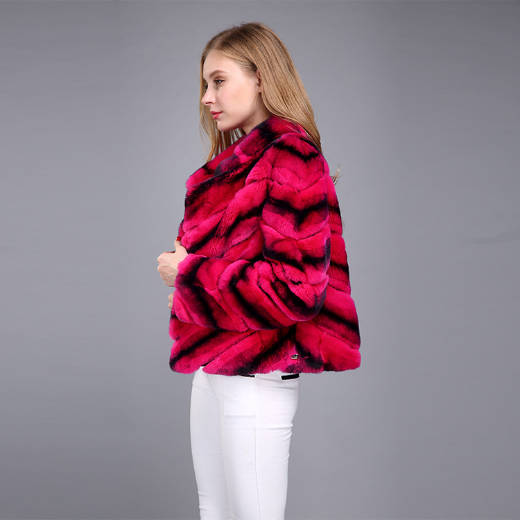 Rex Rabbit Fur Jacket with Chinchilla Look 950 Details 7
