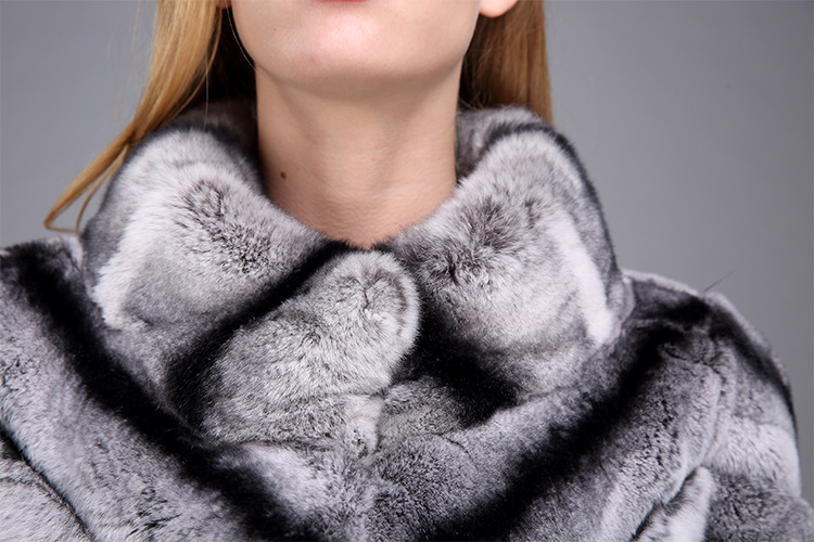 Rex Rabbit Fur Jacket with Chinchilla Look 950 Details 8