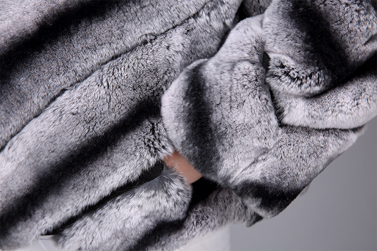 Rex Rabbit Fur Jacket with Chinchilla Look 950 Details 9