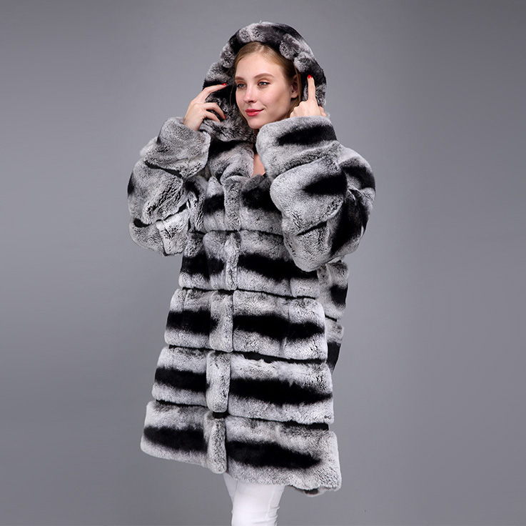 Hooded Rex Rabbit Fur Coat with Chinchilla Look 952 Details 1