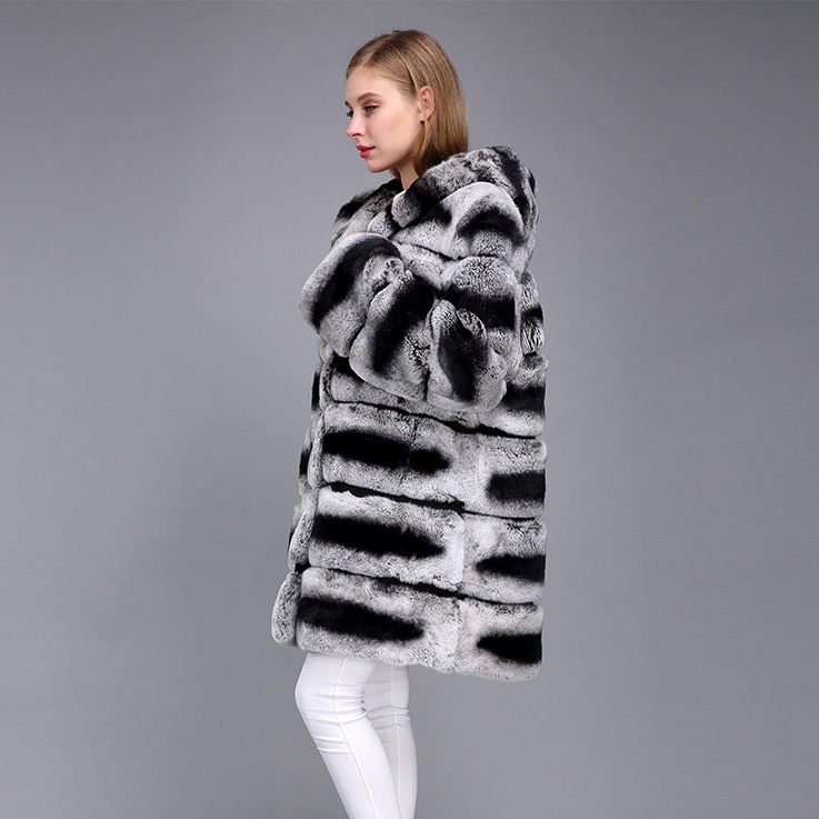 Hooded Rex Rabbit Fur Coat with Chinchilla Look 952 Details 2