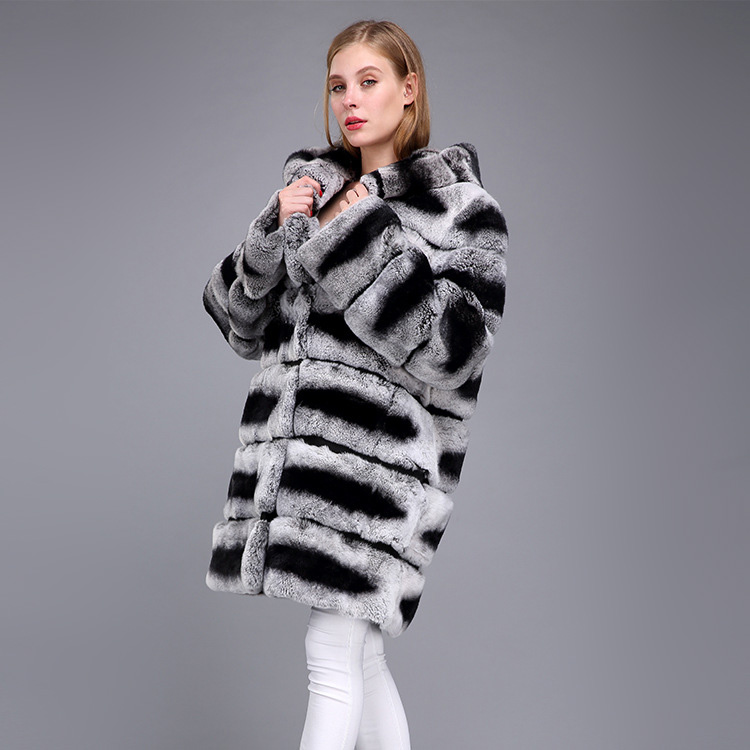 Hooded Rex Rabbit Fur Coat with Chinchilla Look 952 Details 3
