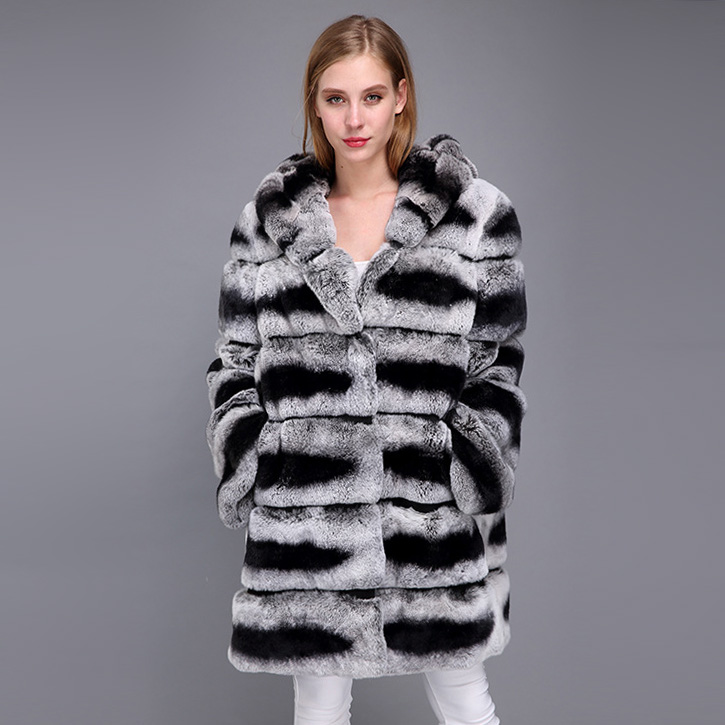 Hooded Rex Rabbit Fur Coat with Chinchilla Look 952 Details 5