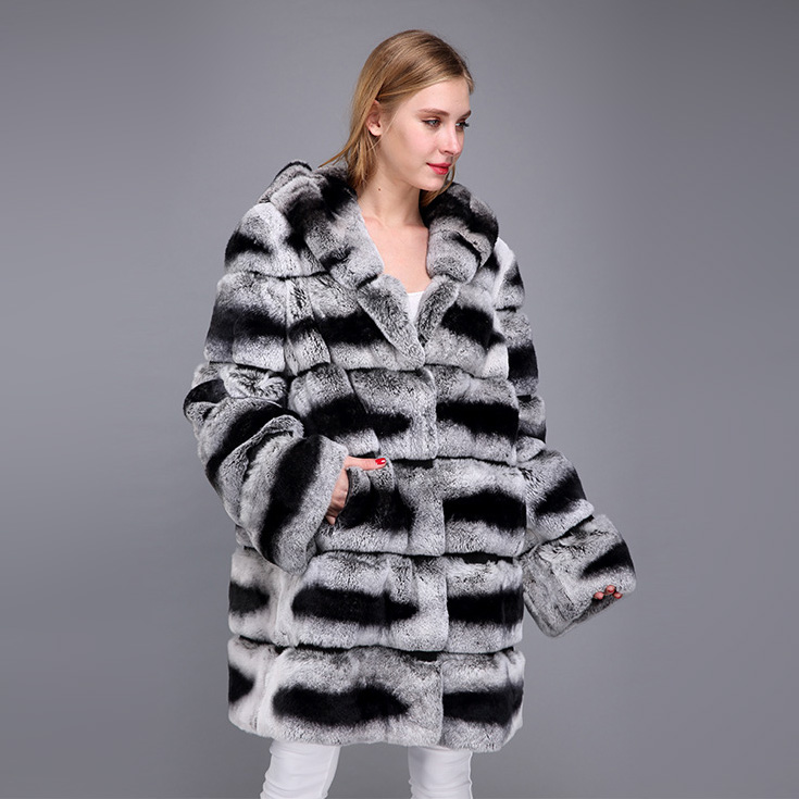 Hooded Rex Rabbit Fur Coat with Chinchilla Look 952 Details 6