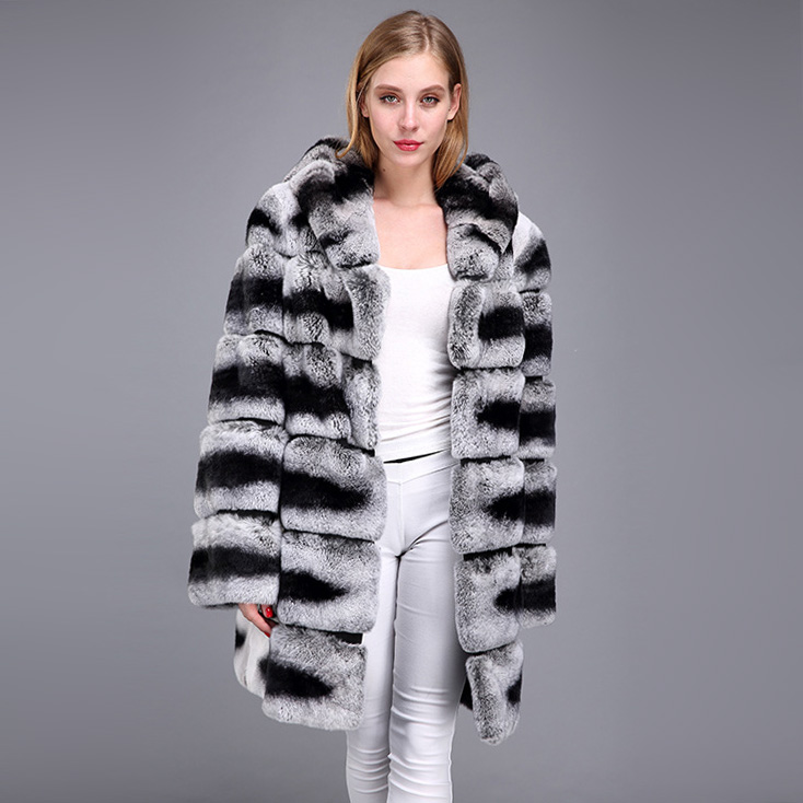 Hooded Rex Rabbit Fur Coat with Chinchilla Look 952 Details 7