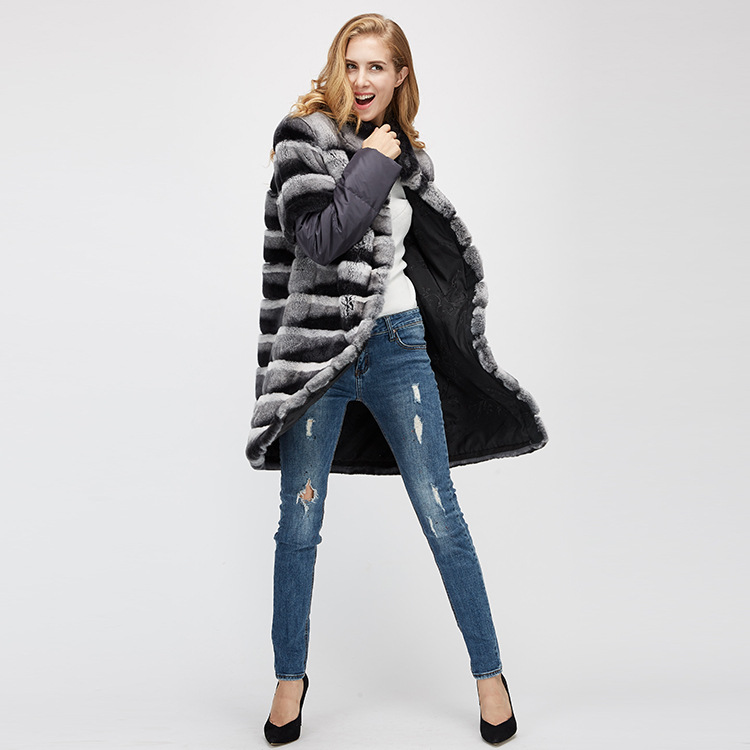 Rex Rabbit Fur Jacket with Detachable Sleeves 954 Details 1