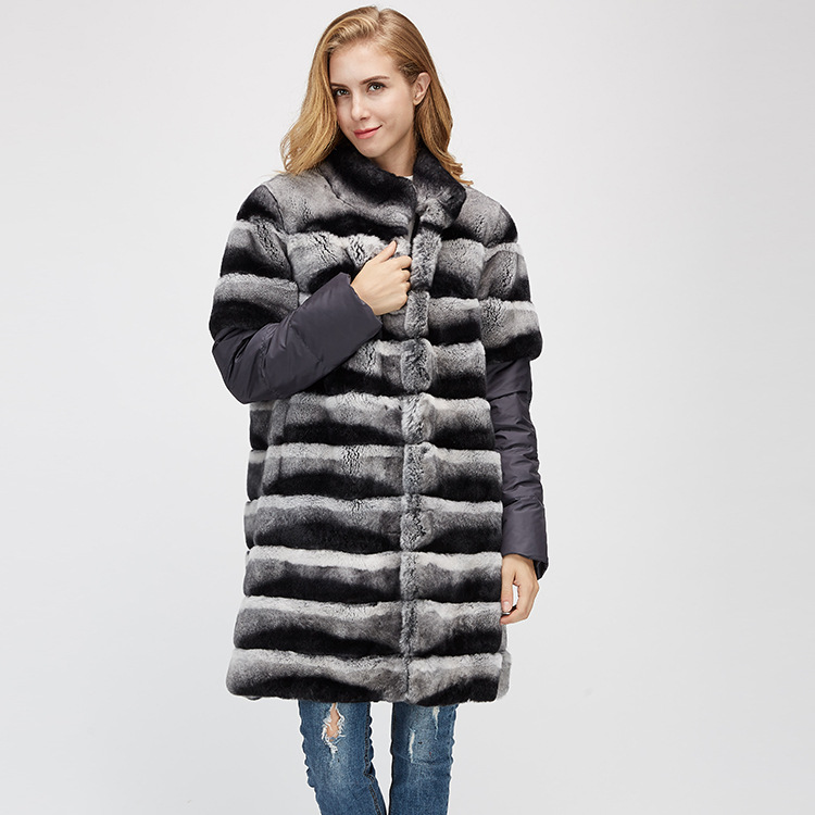 Rex Rabbit Fur Jacket with Detachable Sleeves 954 Details 2
