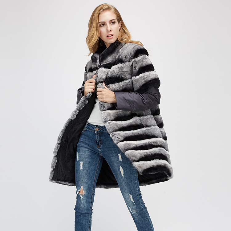 Rex Rabbit Fur Jacket with Detachable Sleeves 954 Details 3