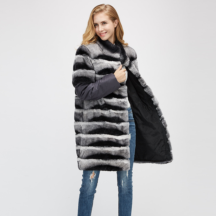 Rex Rabbit Fur Jacket with Detachable Sleeves 954 Details 4